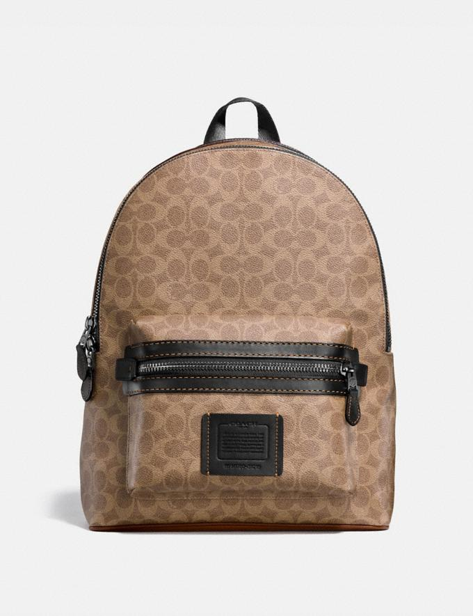 Coach Academy Backpack in Signature Canvas Khaki/Black Copper Finish Men Edits Travel