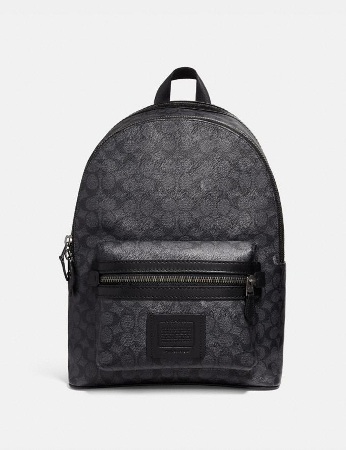 Coach Academy Backpack in Signature Canvas Black Antique Nickel/Charcoal Gift For Him Bestsellers