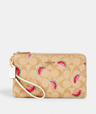 DOUBLE ZIP WALLLET IN SIGNATURE CANVAS WITH WATERMELON PRINT