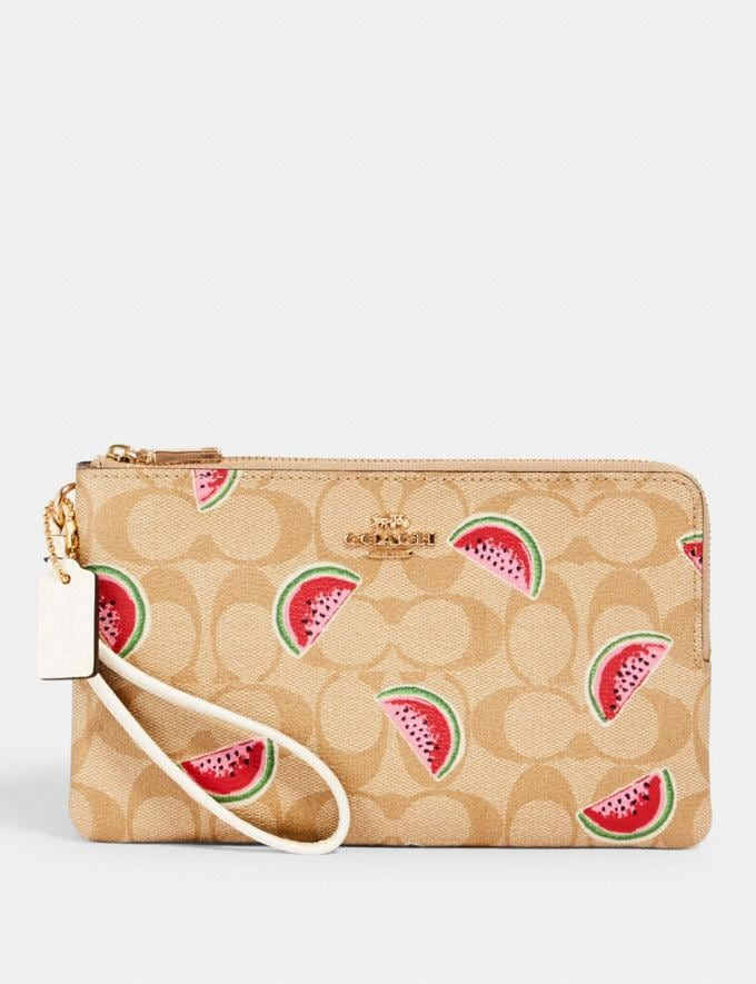 Coach Double Zip Walllet in Signature Canvas With Watermelon Print Im/Lt Khaki/Red Multi Accessories Wallets