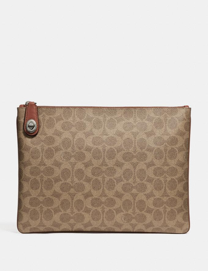 Coach Pouch in Signature Canvas Khaki Men Accessories