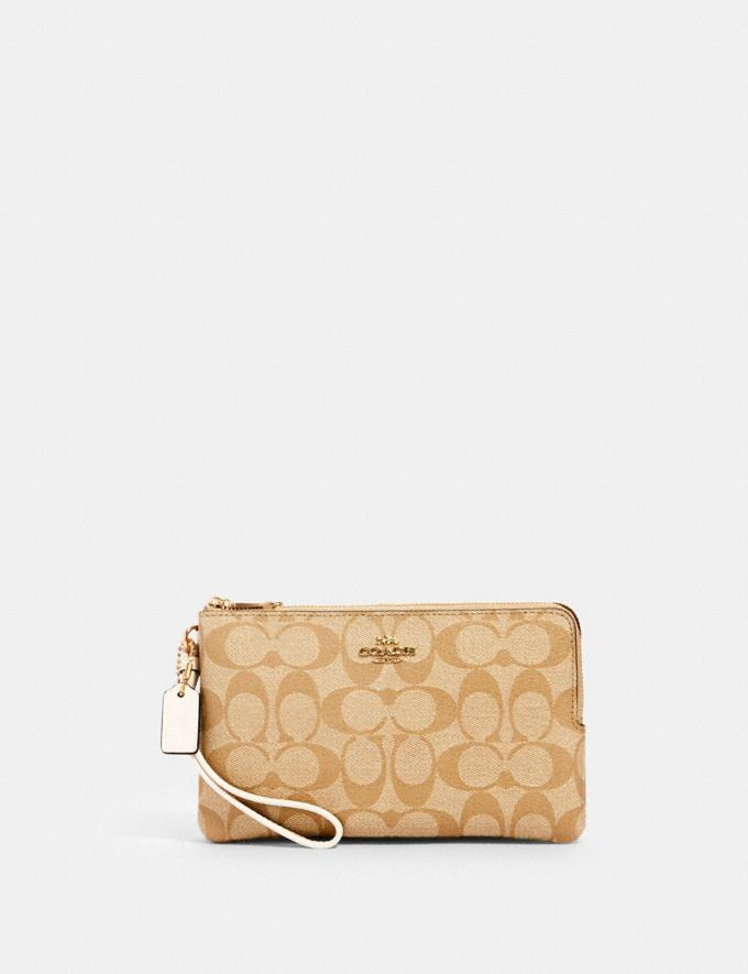 Coach Double Zip Wallet in Signature Canvas Im/Khaki/ Light Khaki/ Chalk DEFAULT_CATEGORY