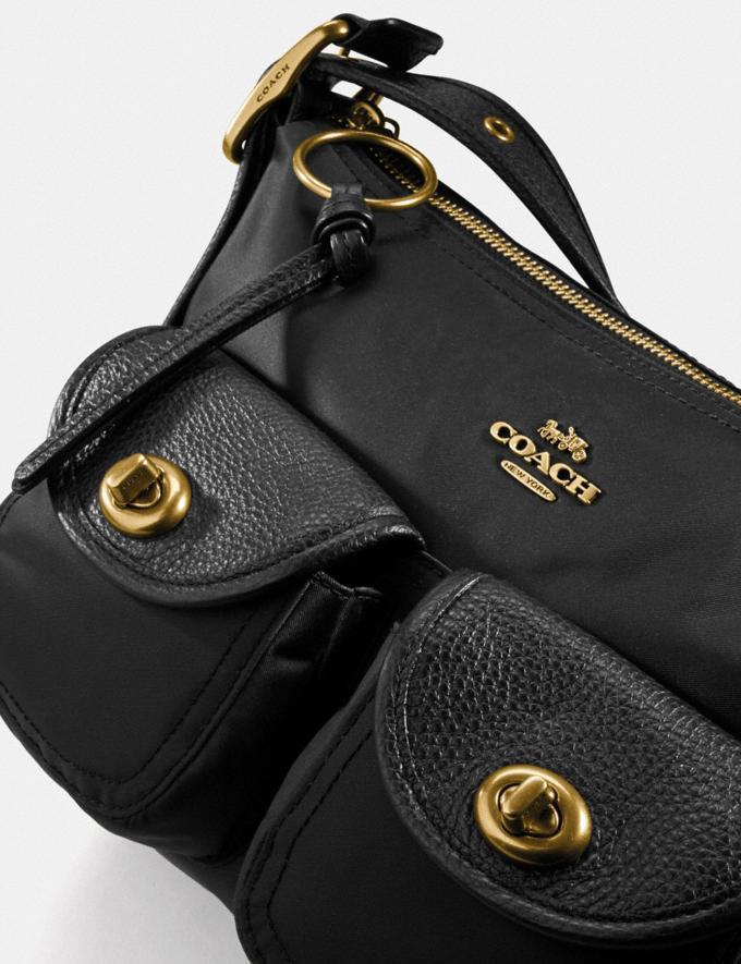Coach Cargo Shoulder Bag With Vintage Rose Print Interior Brass/Black Women Handbags Shoulder Bags & Hobos Alternate View 5
