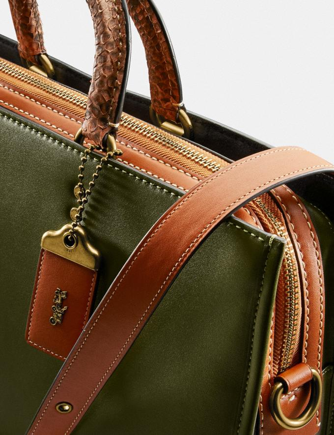 Coach Rogue Brief With Snakeskin Detail Brass/Olive Men Bags Briefcases Alternate View 3