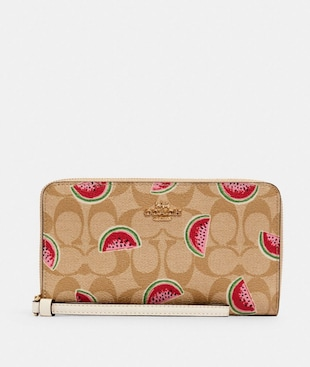 LARGE PHONE WALLET IN SIGNATURE CANVAS WITH WATERMELON PRINT