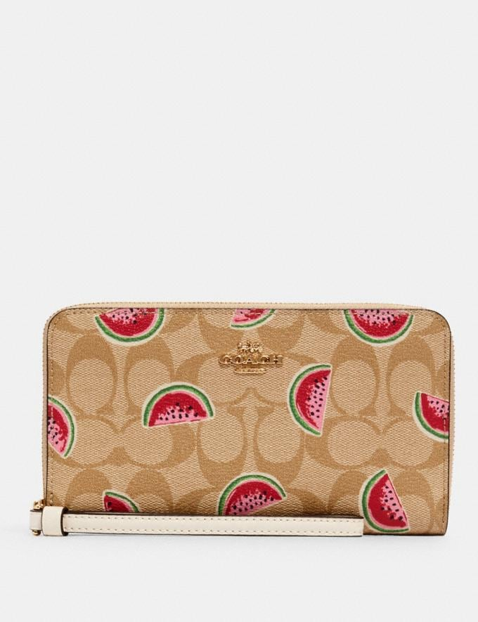 Coach Large Phone Wallet in Signature Canvas With Watermelon Print Im/Lt Khaki/Red Multi Accessories Wallets