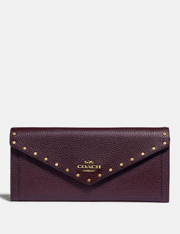 195584e9ec Coach Soft Wallet With Rivets Oxblood/Brass SALE Featured New to Sale