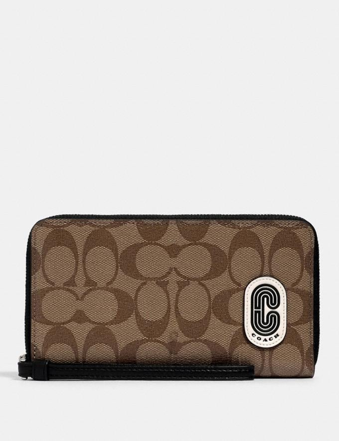 Coach Large Phone Wallet in Signature Canvas With Coach Patch Sv/Khaki/Black