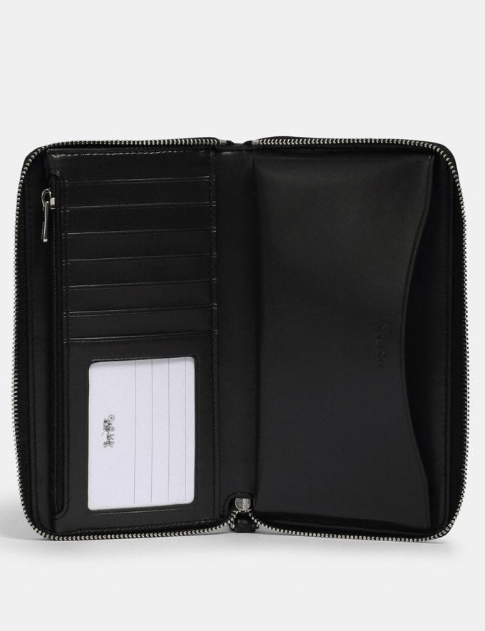 Coach Large Phone Wallet in Signature Canvas With Coach Patch Sv/Khaki/Black  Alternate View 1