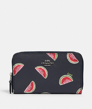 MEDIUM ZIP AROUND WALLET WITH WATERMELON PRINT