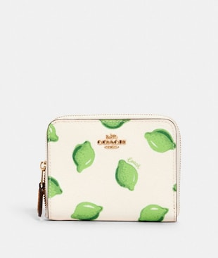 SMALL ZIP AROUND WALLET WITH LIME PRINT