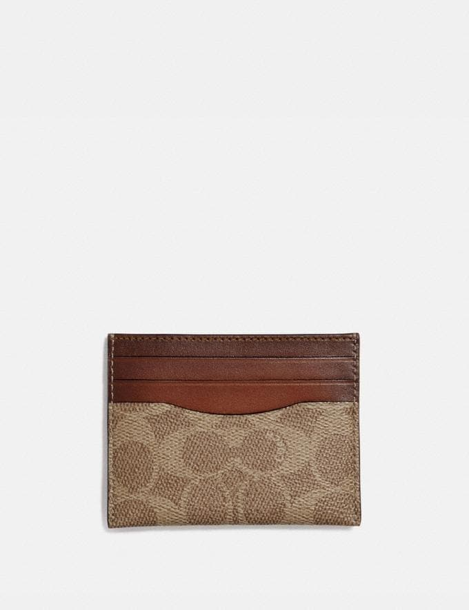 Coach Card Case in Colorblock Signature Canvas Brass/Tan Rust Women Wallets & Wristlets Small Wallets