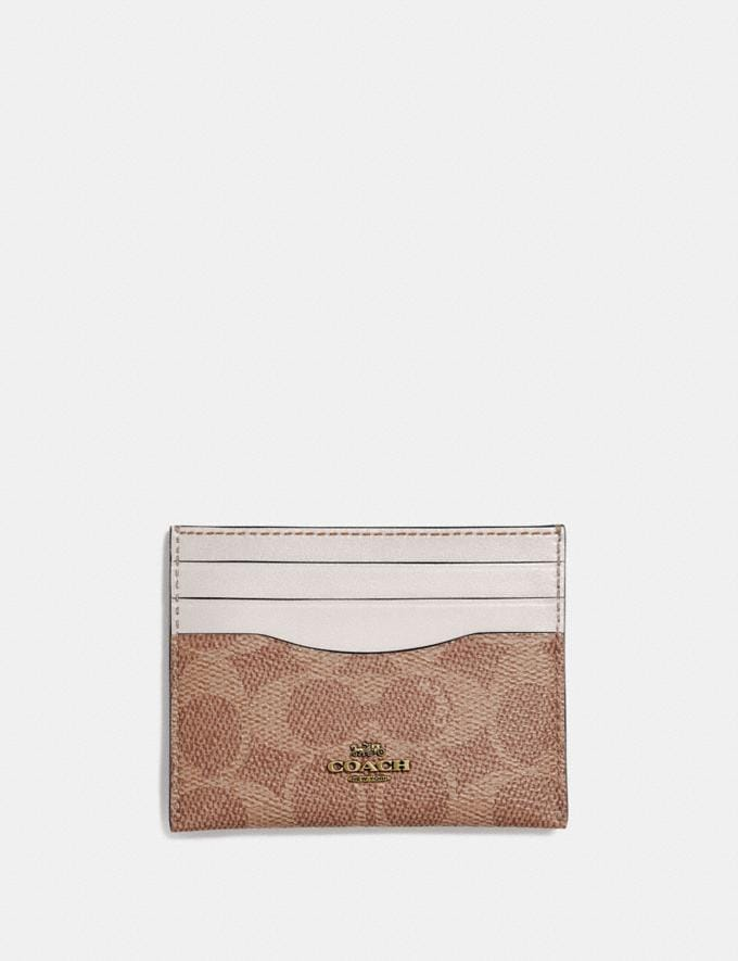 Coach Card Case in Colorblock Signature Canvas Tan/Chalk/Brass Women Small Leather Goods Card Cases