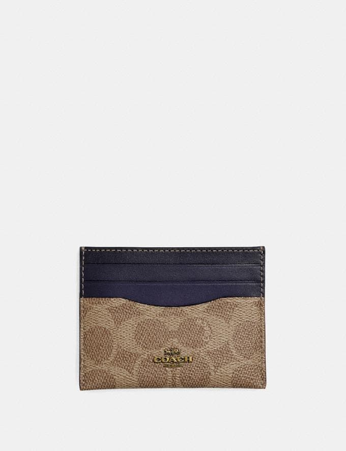 Coach Card Case in Colorblock Signature Canvas Tan/Ink/Brass Gift For Her Under €100