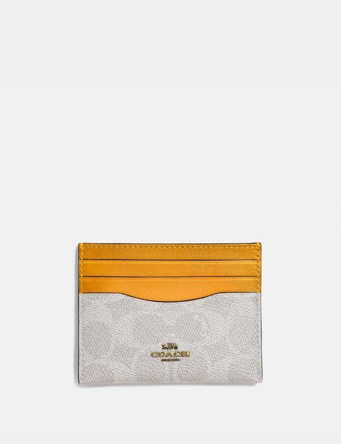 Coach Card Case in Colorblock Signature Canvas Brass/Chalk Pollen New Women's New Arrivals Wallets & Wristlets