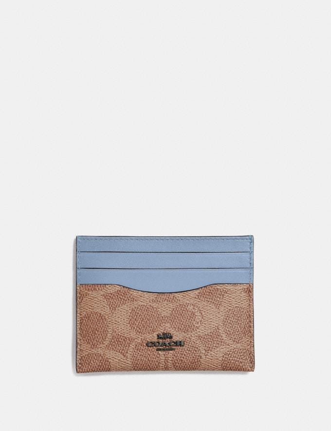 Coach Card Case in Colorblock Signature Canvas Blue Gift For Her Under €100