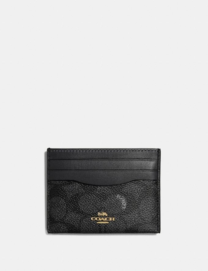 Coach Card Case in Colorblock Signature Canvas Charcoal/Midnight Navy/Light Gold Gifts For Her Under £100