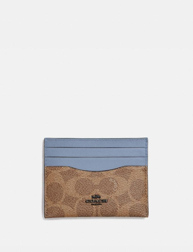 Coach Card Case in Colorblock Signature Canvas V5/Tan Bluebell New Women's New Arrivals