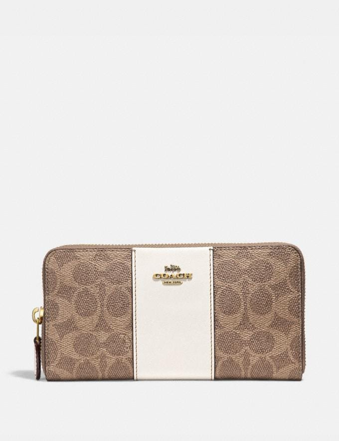 Coach Accordion Zip Wallet in Colorblock Signature Canvas Tan/Chalk/Brass Women Small Leather Goods Large Wallets
