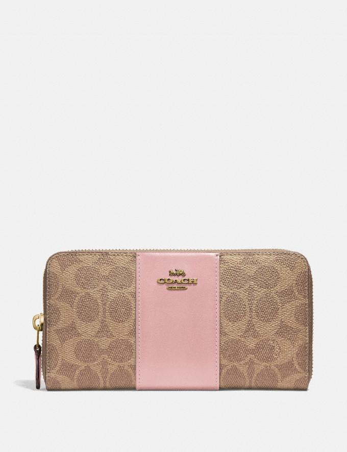 Coach Accordion Zip Wallet in Colorblock Signature Canvas Tan/Blossom/Brass Women Small Leather Goods Large Wallets