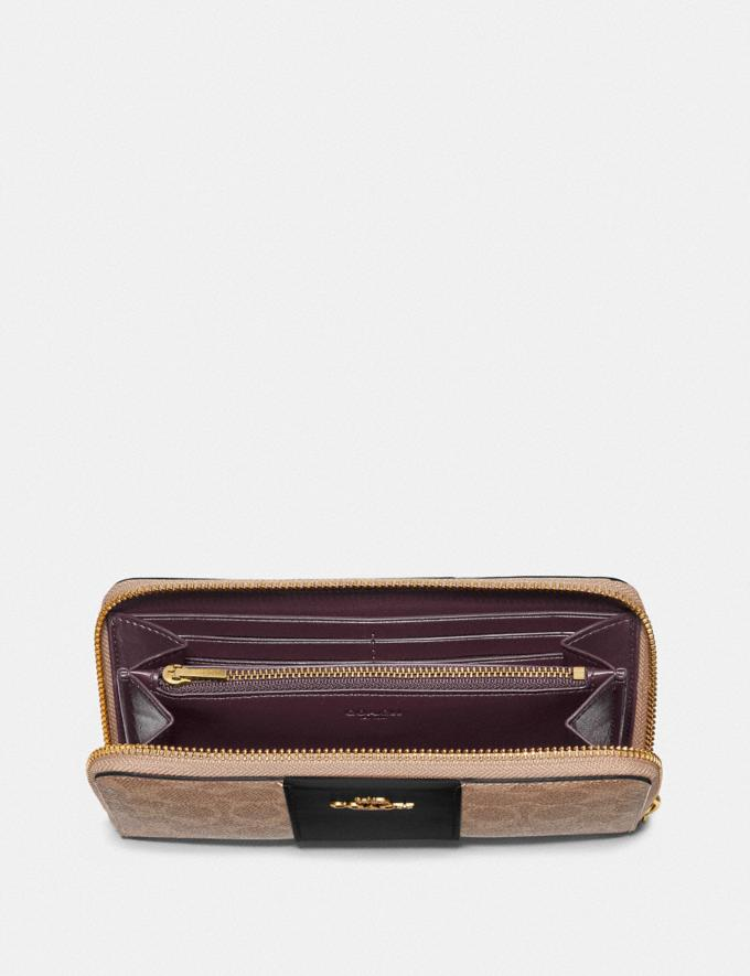Coach Accordion Zip Wallet in Colorblock Signature Canvas Brass/Tan Black New Women's New Arrivals Small Leather Goods Alternate View 1