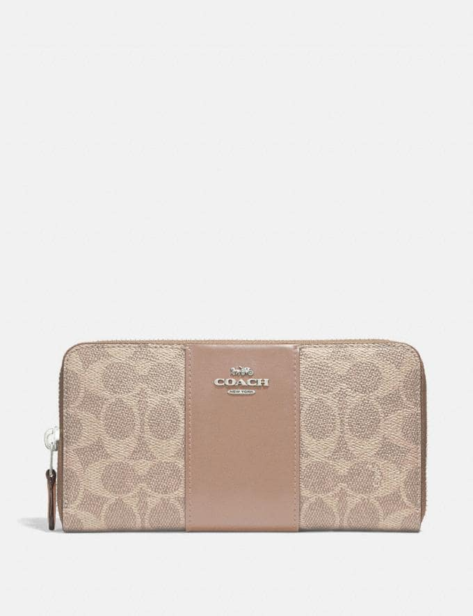 Coach Accordion Zip Wallet in Colorblock Signature Canvas Light Nickel/Sand Taupe Gifts For Her Bestsellers