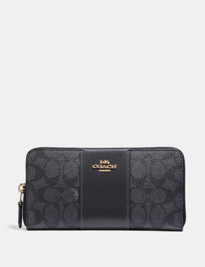 Coach Accordion Zip Wallet in Colorblock Signature Canvas Charcoal/Midnight Navy/Light Gold Gifts For Her Under $300