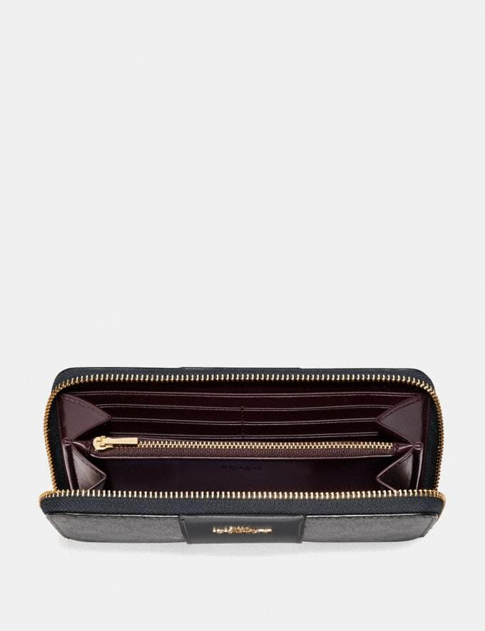 Coach Accordion Zip Wallet in Colorblock Signature Canvas Charcoal/Midnight Navy/Light Gold Gifts For Her Under $300 Alternate View 1