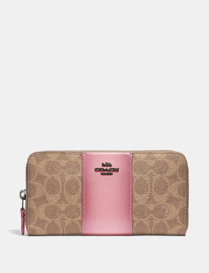 Coach Accordion Zip Wallet in Colorblock Signature Canvas Pewter/Tan True Pink New Women's New Arrivals Wallets & Wristlets