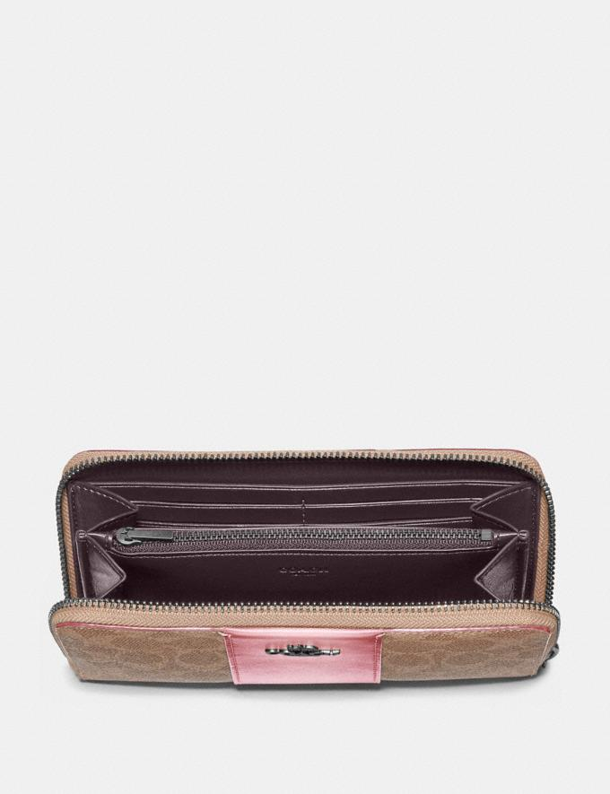 Coach Accordion Zip Wallet in Colorblock Signature Canvas Pewter/Tan Red Apple New Women's New Arrivals Wallets & Wristlets Alternate View 1