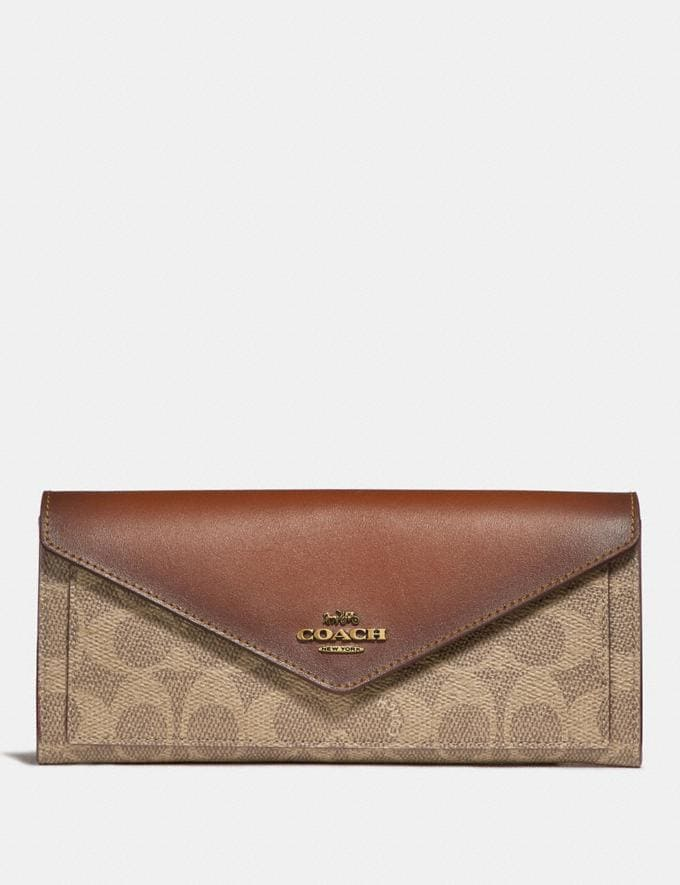 Coach Soft Wallet in Colorblock Signature Canvas B4/Tan Rust Women Small Leather Goods Large Wallets