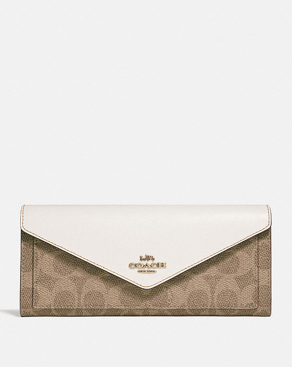 Coach Envelope Wallet In Colorblock Signature Canvas With Tea Rose Turnlock Coach ugxMrHV
