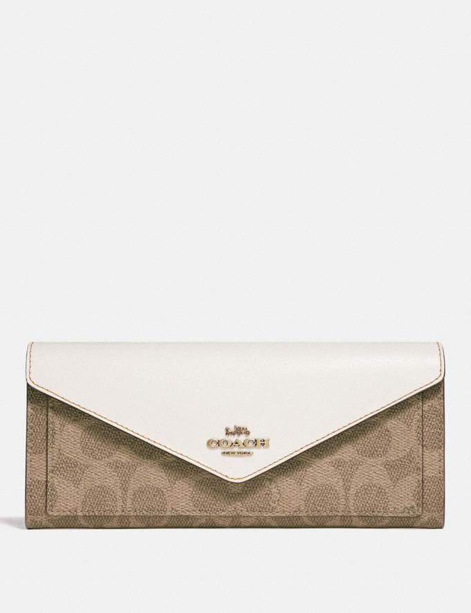 Coach Soft Wallet in Colorblock Signature Canvas B4/Tan Chalk Women Wallets & Wristlets Large Wallets