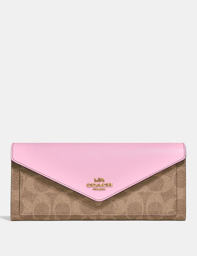 Coach Soft Wallet in Colorblock Signature Canvas Tan/Blossom/Brass New Women's New Arrivals Small Leather Goods