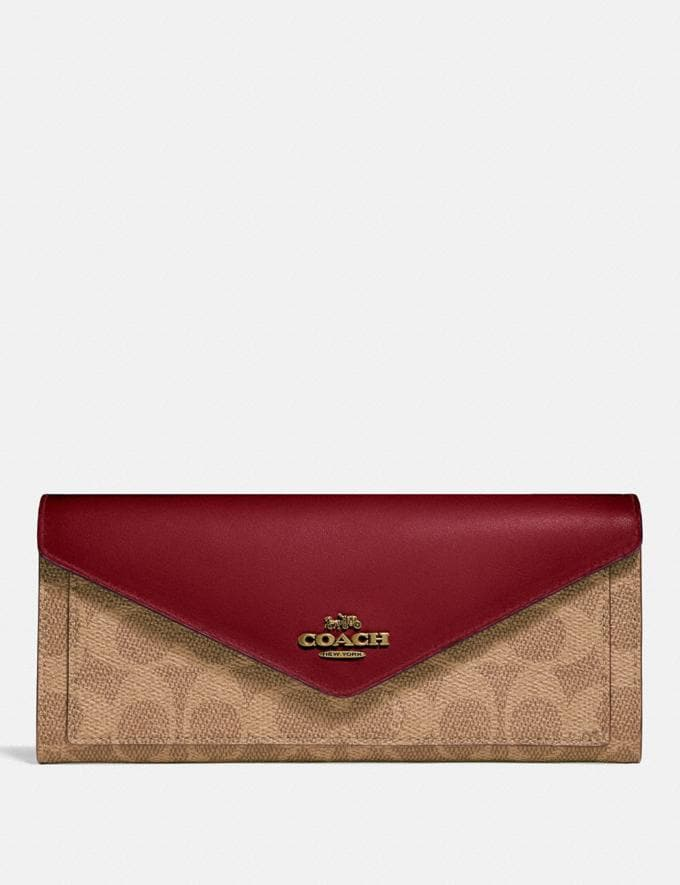Coach Soft Wallet in Colorblock Signature Canvas B4/Tan Deep Red Women Small Leather Goods Large Wallets