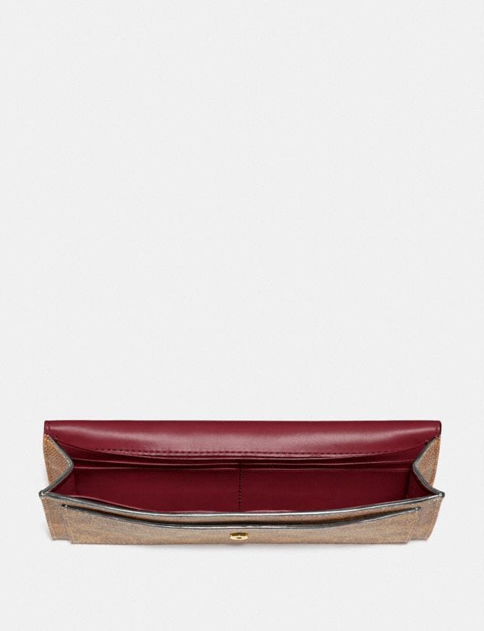Coach Soft Wallet in Colorblock Signature Canvas B4/Tan Deep Red Women Small Leather Goods Large Wallets Alternate View 1