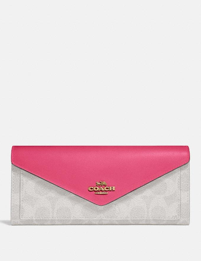 Coach Soft Wallet in Colorblock Signature Canvas B4/Chalk Confetti Pink Women Small Leather Goods