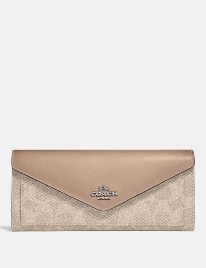 Coach Soft Wallet in Colorblock Signature Canvas Light Nickel/Sand Taupe Women Collection Signature
