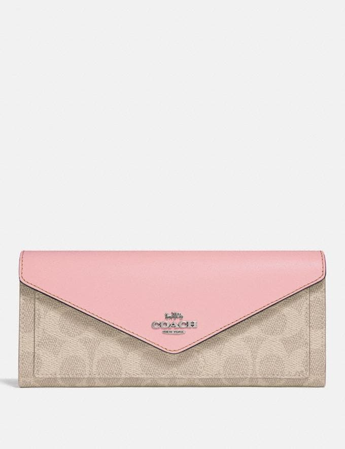 Coach Soft Wallet in Colorblock Signature Canvas Light Nickel/Sand Aurora Women Collection Signature