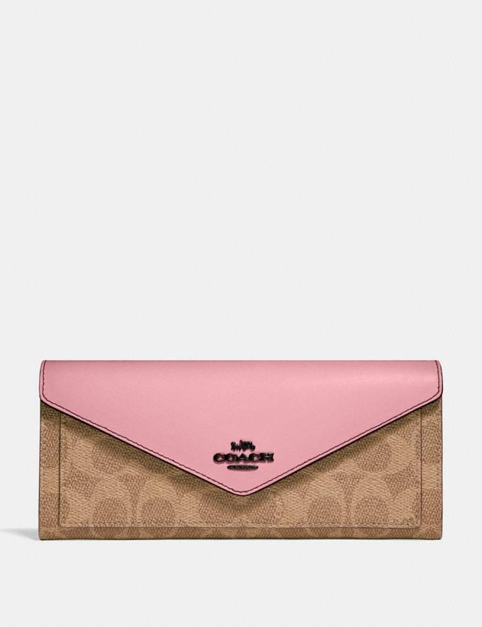 Coach Soft Wallet in Colorblock Signature Canvas Pewter/Tan True Pink Gifts For Her Bestsellers