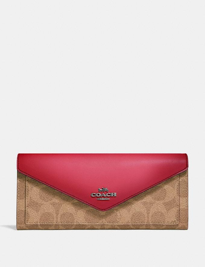 Coach Soft Wallet in Colorblock Signature Canvas Pewter/Tan Red Apple Women Wallets & Wristlets Large Wallets