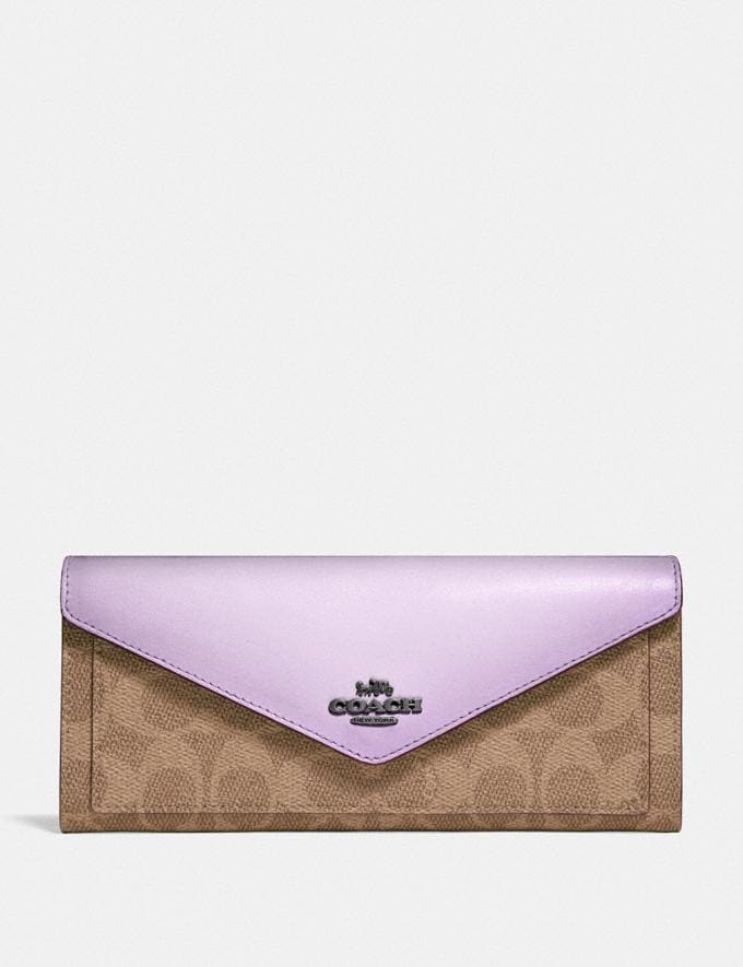 Coach Soft Wallet in Colorblock Signature Canvas V5/Tan Soft Lilac SALE Sale Edits New to Sale New to Sale