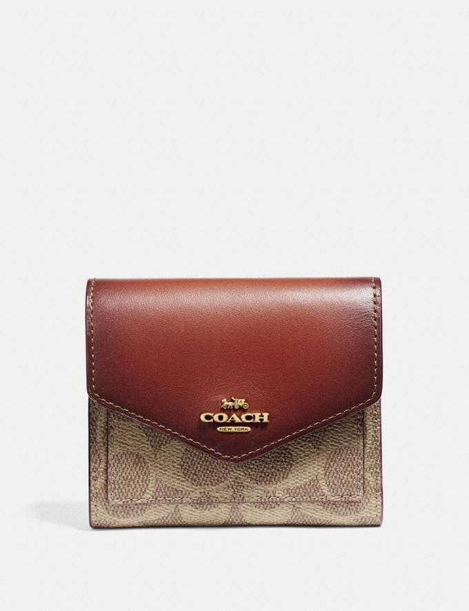 Coach Small Wallet in Colorblock Signature Canvas B4/Tan Rust Women Small Leather Goods Small Wallets
