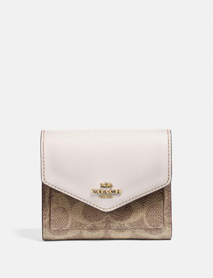 Coach Small Wallet in Colorblock Signature Canvas B4/Tan Chalk Women Collection Signature