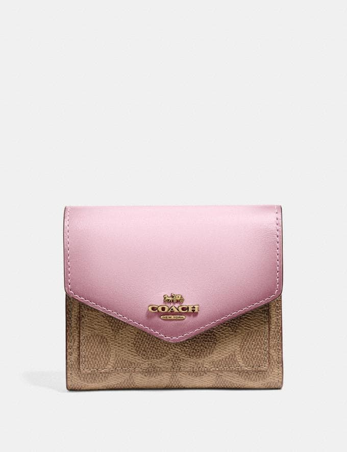 Coach Small Wallet in Colorblock Signature Canvas Tan/Blossom/Brass Women Wallets & Wristlets Small Wallets