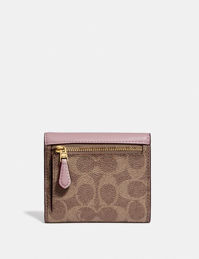 Coach Small Wallet in Colorblock Signature Canvas Tan/Blossom/Brass Women Wallets & Wristlets Small Wallets Alternate View 1