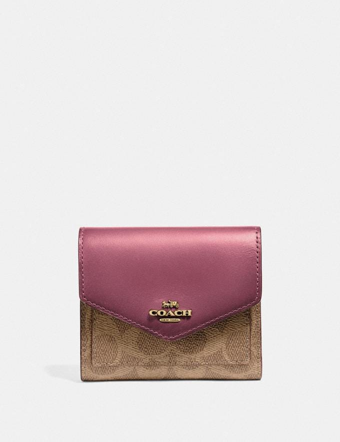 Coach Small Wallet in Colorblock Signature Canvas B4/Tan Dusty Pink Gifts Holiday Shop Stocking Fillers For Her