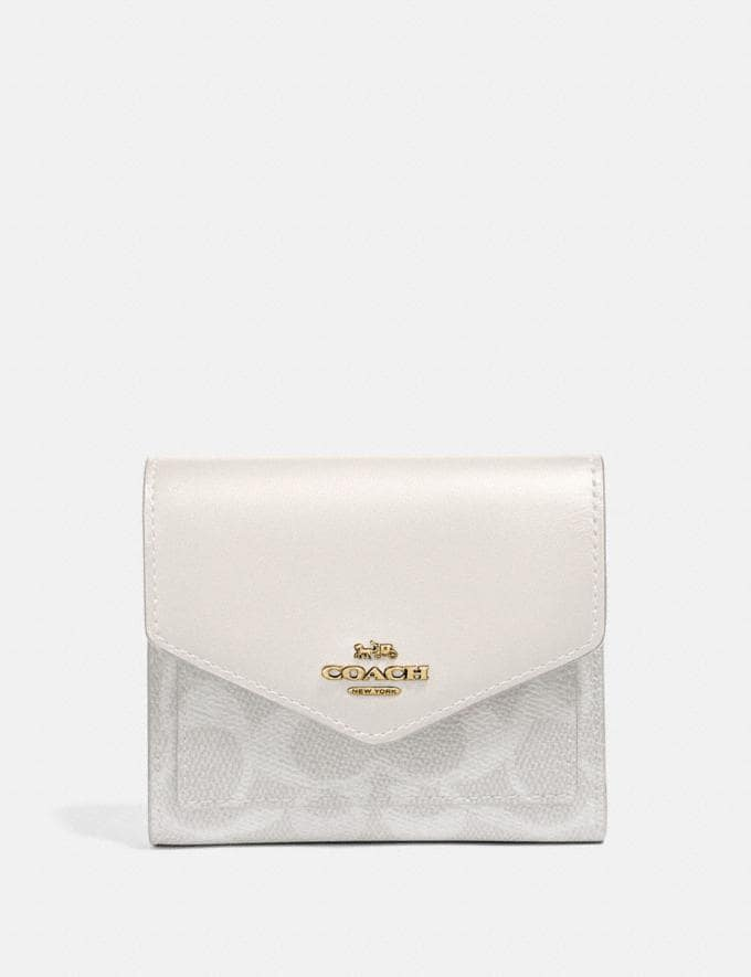 Coach Small Wallet in Colorblock Signature Canvas Brass/Chalk Chalk Women Accessories Tech & Work