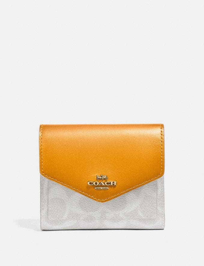 Coach Small Wallet in Colorblock Signature Canvas B4/Chalk Pollen Women Small Leather Goods Small Wallets