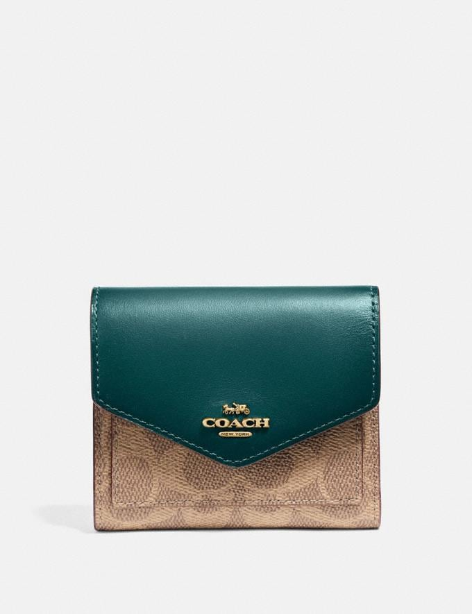 Coach Small Wallet in Colorblock Signature Canvas B4/Tan Forest Women Small Leather Goods Small Wallets